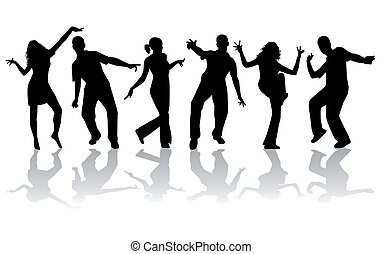 dancing, silhouettes, -, verzameling, groot