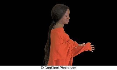 dancing, vrouw, mooi, black , alfa, hebben, vaart, plezier, het glimlachen