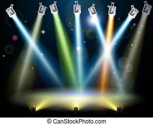 dans, lichten, vloer, of, toneel