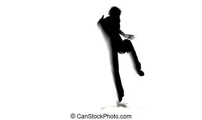 dans, silhouette, man
