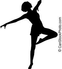 dans, vrouw, silhouette