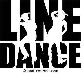 dans, woord, lijn, silhouette