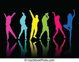 dansparty, silhouette, mensen