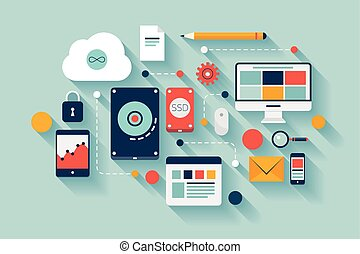 data, illustratie, concept, opslag