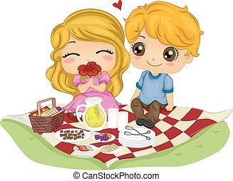 datum, paar, geitjes, picknick