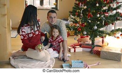 daugter, stamboom, jonge, home., kerstmis