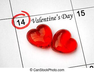 day., pagina, kalender, hartjes, 14, heilige, rood, valentines, februari