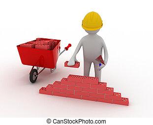 de arbeider van de bouw, 3d