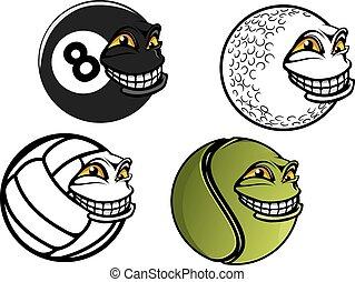 de ballen van het biljart, tennis, volleybal, spotprent, golf