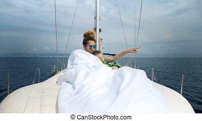 de caraïben, navigeren, paar, jacht, jonge, zee