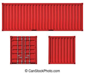 de container van de lading, bovenkant, back, voorkant