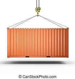de container van de lading, haak, vertolking, kraan, 3d