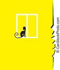 de kat van de zitting, barst, venster, muur