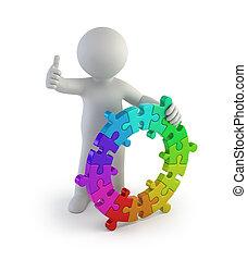 de kleur van mensen, -, kleine, ring, 3d