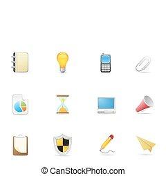 de pictogrammen van het bureau, &, zakelijk