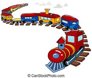 de trein van het stuk speelgoed, achtergrond