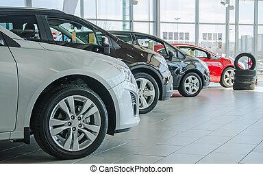 dealership, auto's, nieuw, enigszins, salon.