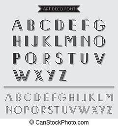 deco, kunst, ouderwetse , -, typografie, vector, lettertype, eps10, type