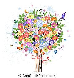 decoratief, bloem, boompje, vogels
