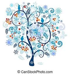 decoratief, boom winter