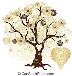decoratief, boompje, goud, valentijn
