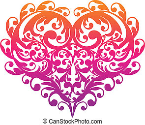 decoratief, decoratief, vector, hart