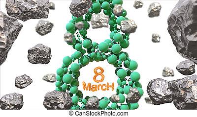 decoratief, figuur, asteroids., ruimte, vliegen, day., internationaal, 3d, zijn, gebruikt, maart, symbool., illustratie, acht, 8, grungy, gemaakt, postkaart, van een vrouw, groet, bolen, groene, groenteblik, of