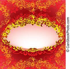 decoratief, floral, frame, rood