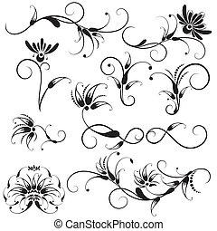 decoratief, floral onderdelen, ontwerp