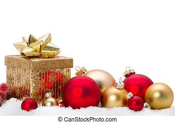 decoratief, glas, sneeuw, versieringen, kerstmis