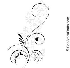 decoratief, illustratie, floral, flourishes, swirling, vector, element