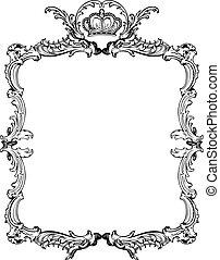 decoratief, illustration., ouderwetse , vector, sierlijk, frame.