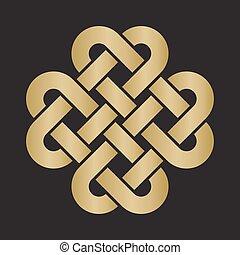 decoratief, keltisch, liefde, knoop