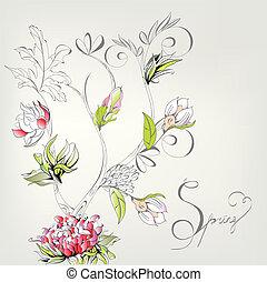 decoratief, lente, kaart