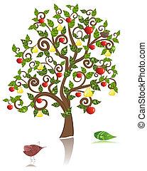 decoratief, peer appel, boompje