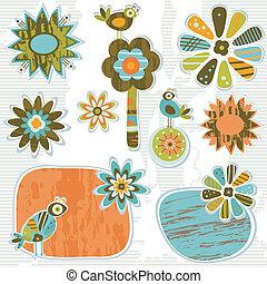 decoratief, schattig, bloemen, retro, lijstjes
