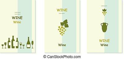 decoratief, set., communie, druif, wijngaarden