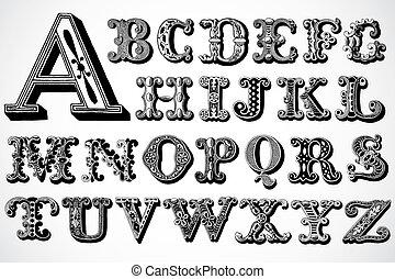 decoratief, vector, set, lettertype