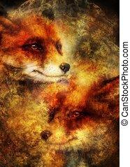 decoratief, wild, rood, fox., schilderij, achtergrond.