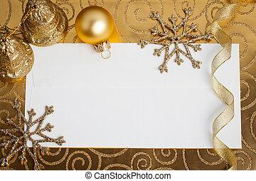 decoraties, kerstmis, goud