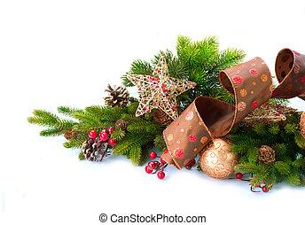 decoration., decoraties, vrijstaand, vakantie, kerstmis, witte