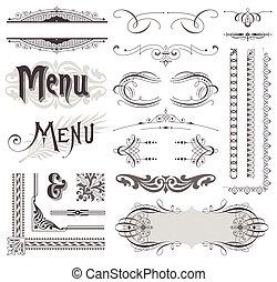 decorative elements, &, calligraphic, vector, ontwerp, decoraties, sierlijk, pagina