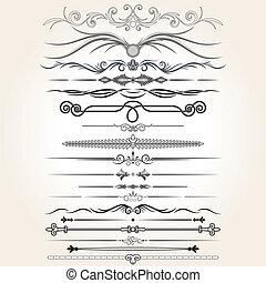 decorative elements, vector, regel, lines., ontwerp