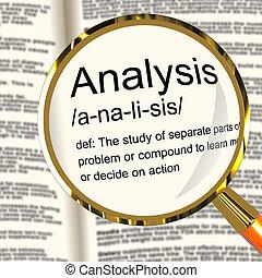 definitie, studeren, het onderzoeken, het tonen, analyse, probing, vergrootglas, of