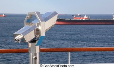 dek, kijker, verhuizing, zee, cruiseschip, stationair