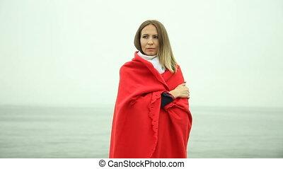 deken, eenzaam, meisje, rood, verdrietige