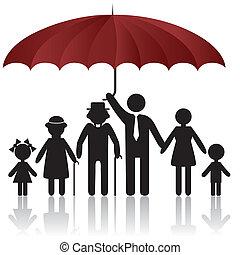 dekking, silhouettes, paraplu, gezin, onder