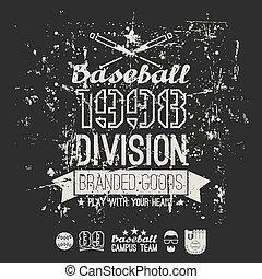 deling, honkbal, universiteit, embleem, retro