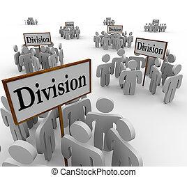 deling, mensen, werkmannen , afdelingen, teams, tekens & borden, verdeeld