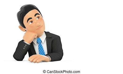 denken, beeldmateriaal, animation achtergrond, zakenman, witte , 3d